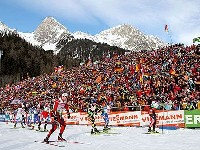 Start zum 4 x 7,5 km Männer Staffelrennen in Antholz