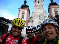 Wolfgang Dabernig, Daniel Obernosterer, Kurt Strobl und Michael Kurz vor der Basilika in Maria Zell