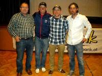 Klaus Mamedof (Firma P-Tec), Radlwolf, Extremsportler Axel Naglich und Organisator Ronny Hohenberger