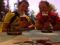 Michi Kurz und Radlwolf nach dem Rennen bei der Rennanalyse