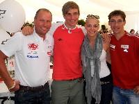 Wolfgang Dabernig, Snowboard-Weltmeister Benjamin Karl mit Gattin Nina und Michael Kurz