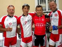 v.l.n.r. Kurt Strobl, Michael Kurz, Formel 1 Fahrer Christian Klien und Wolfgang Dabernig