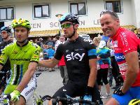 v.l. zweifach Giro d`Italia Sieger Ivan Basso, Sky Profi Bernhard Eisel und Paralympic-Silbermedaillengewinner Wolfgang Dabernig