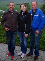 Erich Stauffer und Radlwolf freuten sich über das Treffen mit Monica Weinzettl bekannt auch als Frau Knackal