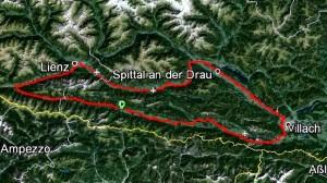 Streckenführung: Kötschach - Lesachtal - Kartitscher Sattel - Lienz - Spittal - Villach - Arnoldstein - Gailtal - Kötschach