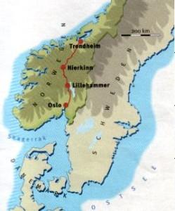 Streckenansicht Trondheim - Oslo (Quelle: http://www.alltagshilfe-uwejohn.info/troslo.htm)