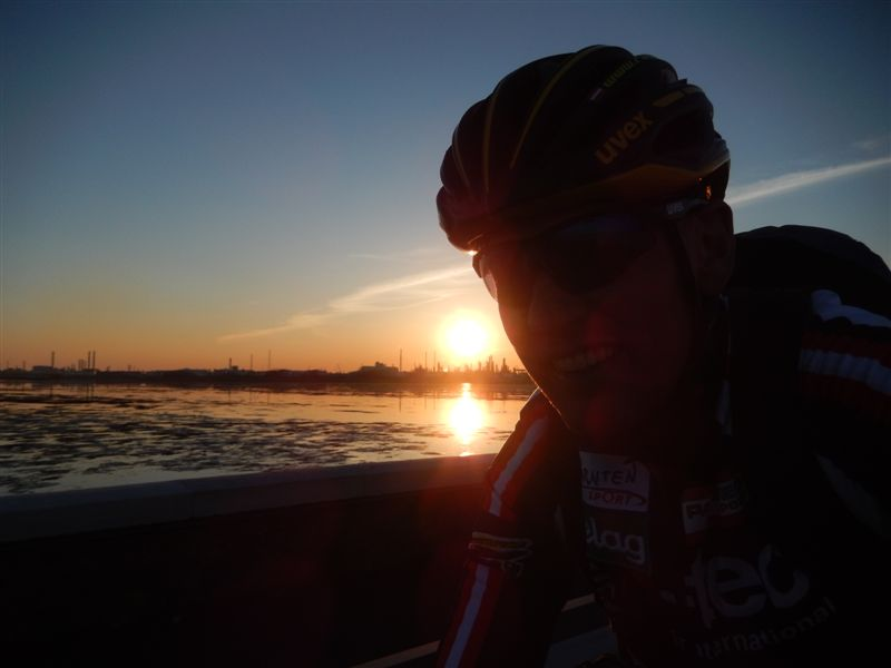 Sonnenuntergang bei der Ankunft in Venedig