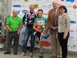 Siegerehrung OÖ Paracycling Tour Straßenrennen 1. Patz Andre Pusareti ITA, 2. Platz Radlwolf, 3. Patz Andreas Zirkl Graz nicht am Foto
