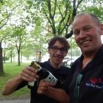 das erste Bier nach dem Höllenritt über 550 km von Trondheim nach Oslo, danke Andrew!