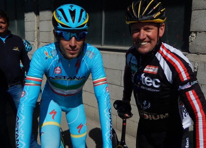Vincenzo Nibali aktueller italienischer Meister Profiradsport und Wolfgang Dabernig aktueller österreichischer Meister Behindertenradsport
