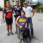 Josef Stabentheiner mit Betreuer Roland Köfmüller , Radlwolf und Michi Kurz bezwang die Mauthner Alm mit den Handbike