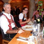 die Deutsche Schilegende Peter Fischer mit Tochter Christina und der deutsche Ex-Abfahrer Michael Veith