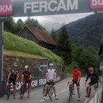 Radlwolf, Kurt und Florian Strobl, Hans Linder und Ossi Jochum 50 km vor dem Ziel am Monte Zoncolan in der Nähe von Paularo