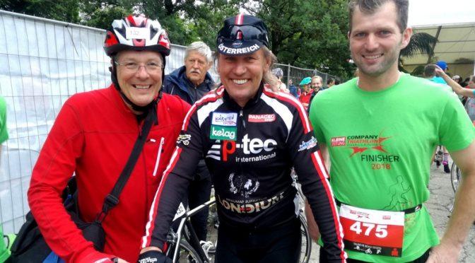 """Radlwolf mit Landeshauptmann Peter Kaiser und Seppi Lackner beim """"Company Triathlon"""""""