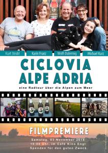 """Filmpremiere Plakat """"Ciclovia Alpe Adria"""" ein Film von Lea Kurz"""