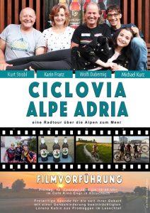 """Filmvorführung Plakat """"Ciclovia Alpe Adria"""" ein Film von Lea Kurz"""