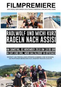 """Filmpremiere Plakat """"Radlwolf und Michi Kurz radeln nach Assisi"""" ein Film von Lea Kurz"""