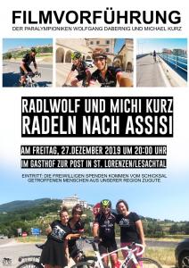 """Plakat """"Radlwolf und Michi Kurz radeln nach Assisi"""" ein Film von Lea Kurz"""