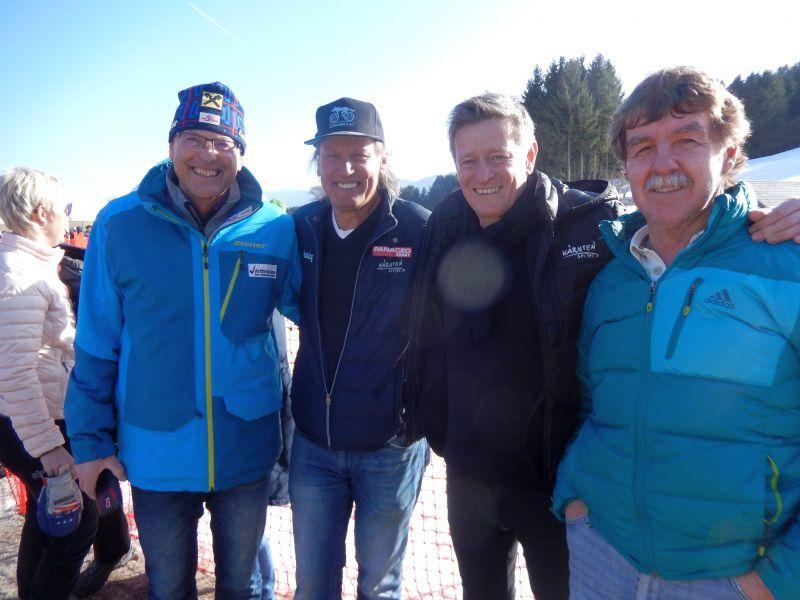 v.l. Mag. Dr. Raimund Berger Leiter Alpines Leistungszentrum Innerkrems, Radlwolf, Landessportdirektor Mag. Arno Arthofer und Ossi Jochum