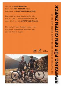 """Plakat für """"7. Radeln, Laufen und Wandern für den guten Zweck"""""""