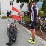 Handbiker Helmut Jost startete in Kühweg bei Hermagor und kämpte sich mit seinem Rennbike bis ins Ziel auf die Untere Valentinalm Foto: © Karin Franz